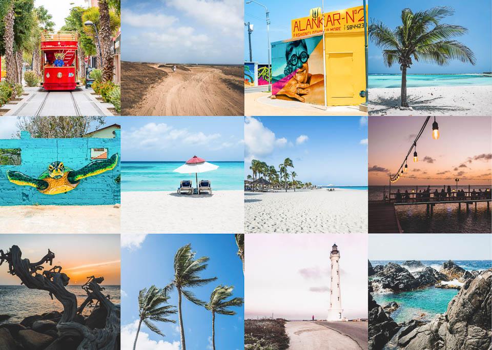 Collage die schönsten Sehenswürdigkeiten und Fotospots auf Aruba