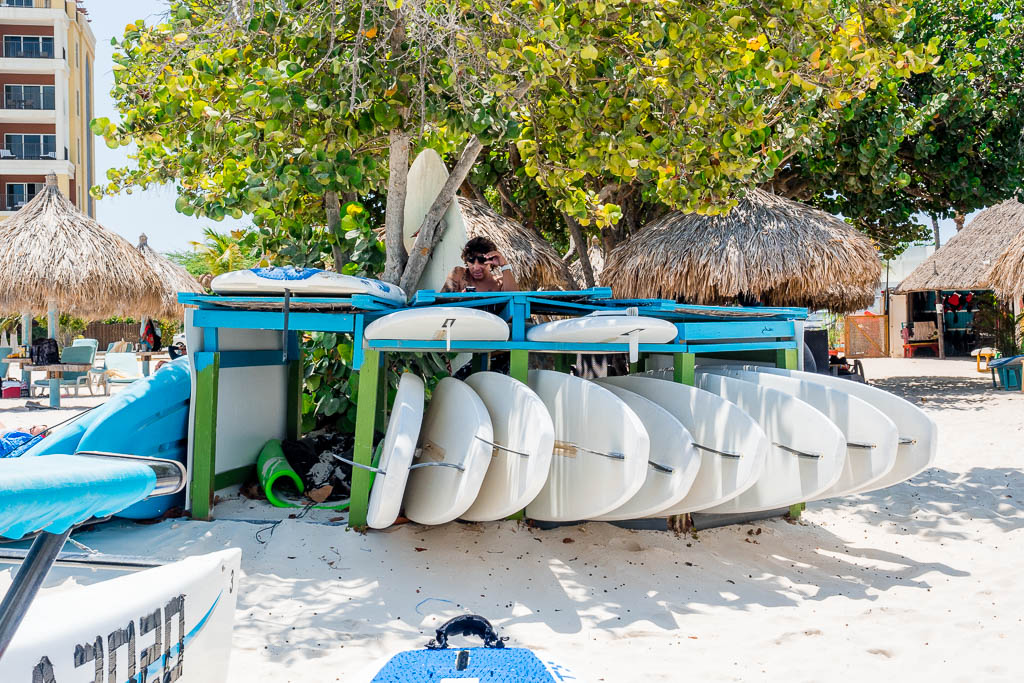Surfboards am Hadicurari Beach auf Aruba