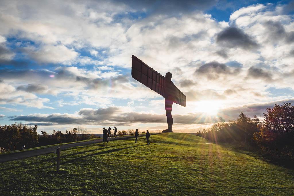 The Angel of the North im Sonnenuntergang Sehenswürdigkeit Newcastle