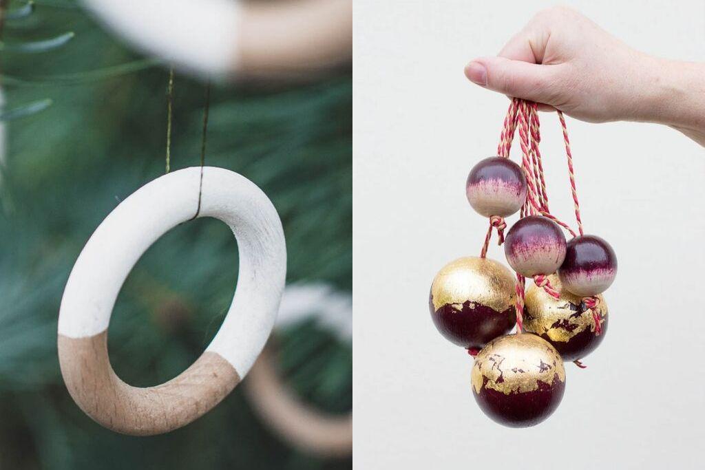DIY selbst gemachte stabile Anhänger für Weihnachten aus Gardinenringen und Holzkugeln
