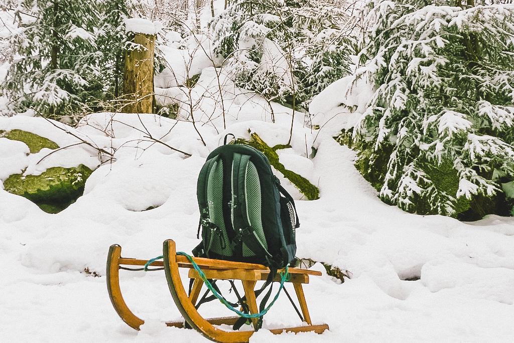 Rodeln im Fichtelgebirge im Winter