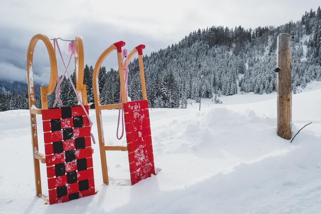 Rodeln im Allgäu im Winter
