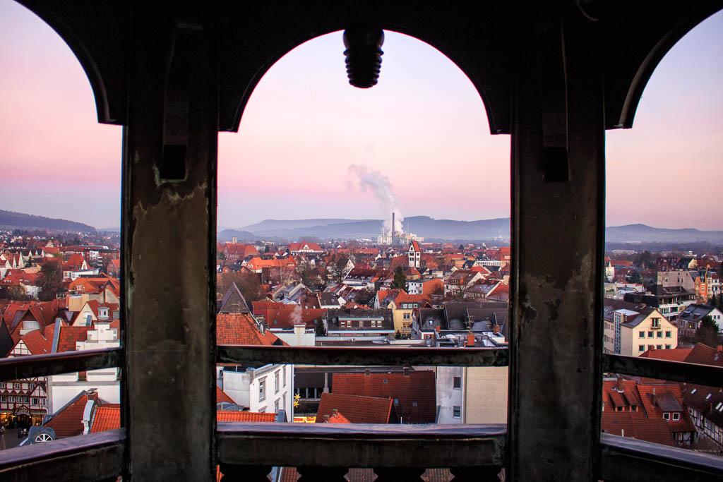 Sonnenuntergang Münster St. Bonifatius Weihnachtsmarkt Hameln