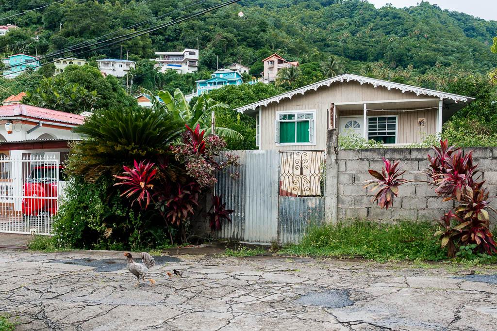 Straßenszene in Soufriere Saint Lucia