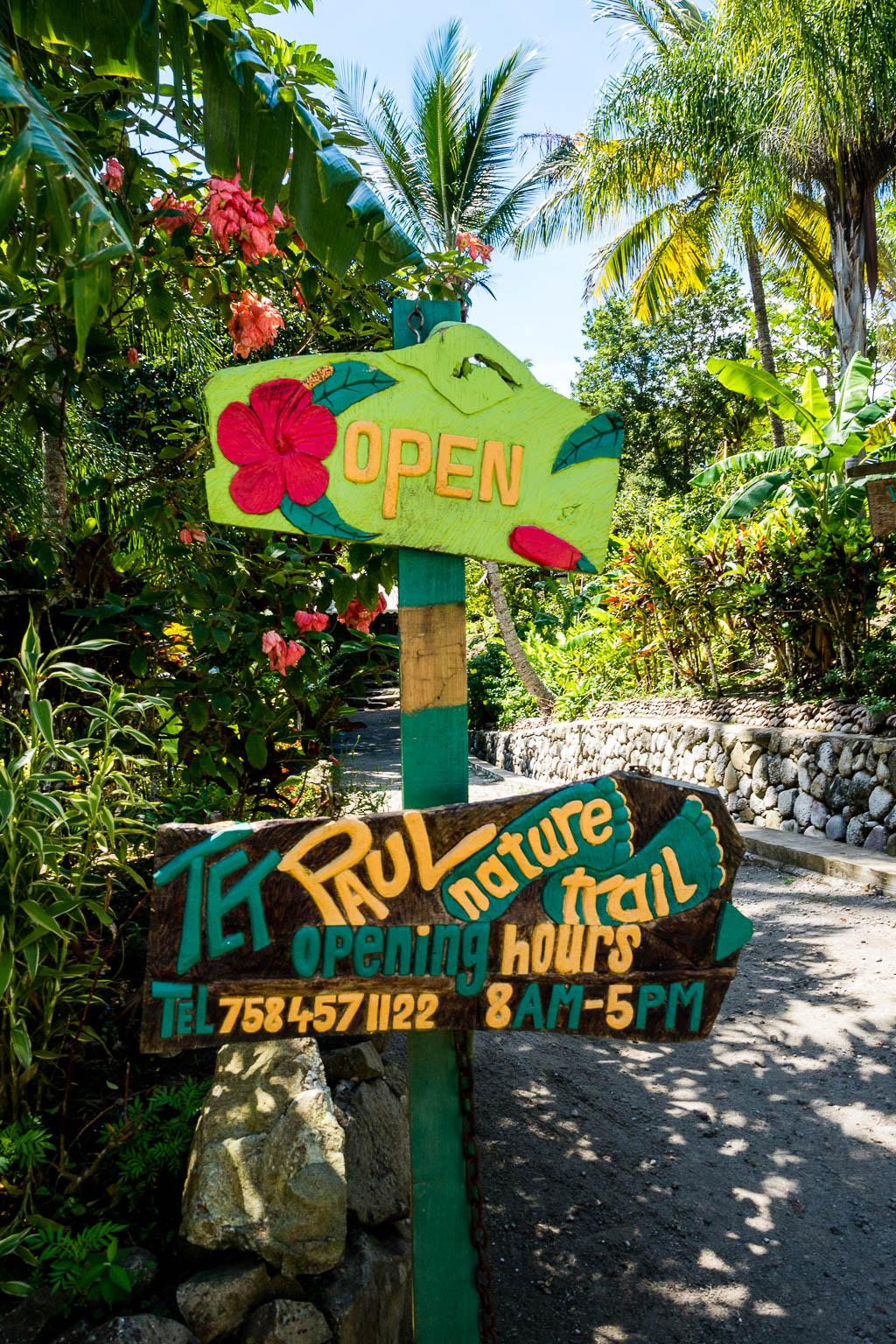 Schild Tet Paul Nature Trail Saint Lucia