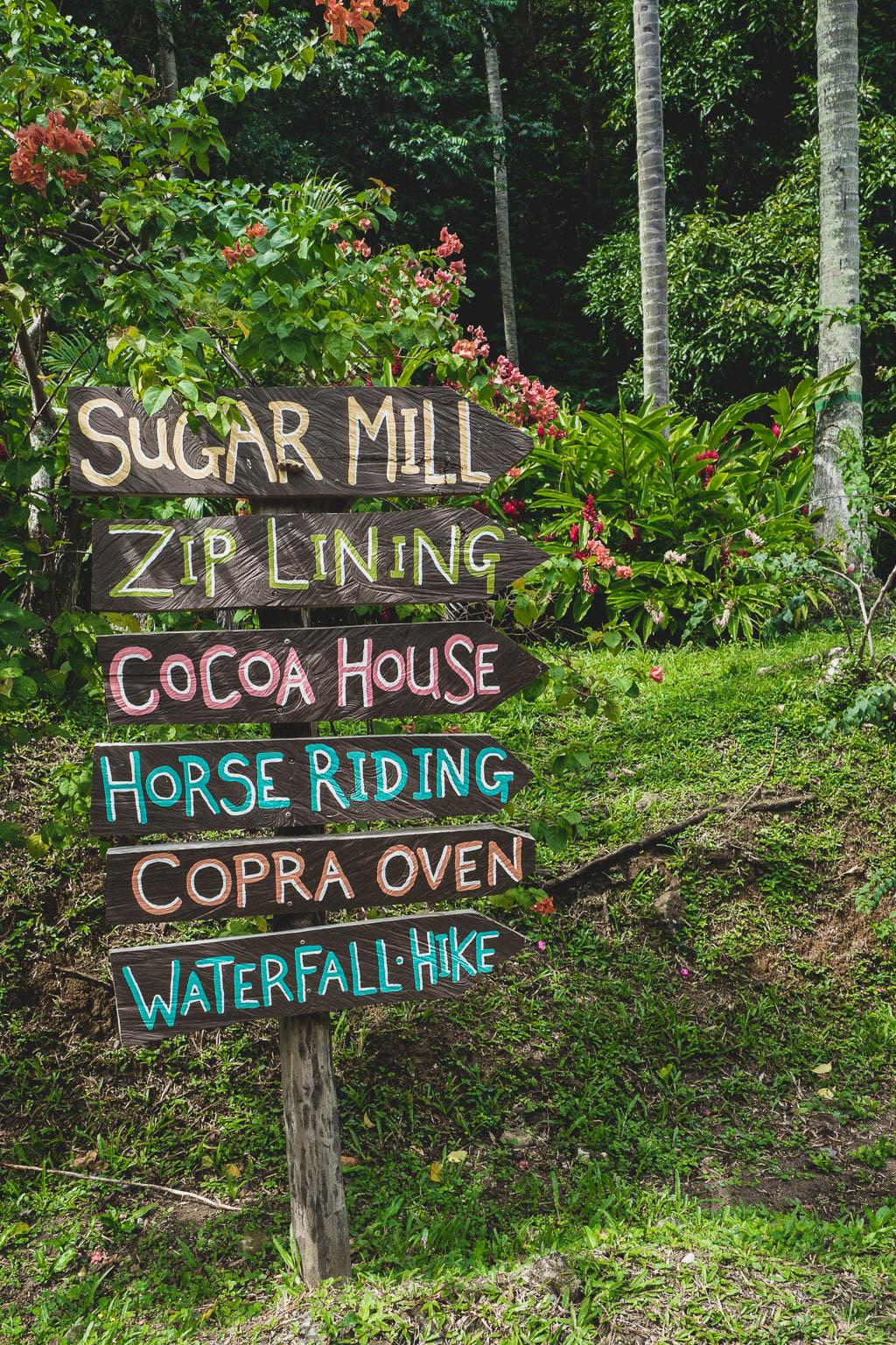 Schild im Morne Coubaril Historical Adventure Park Saint Lucia