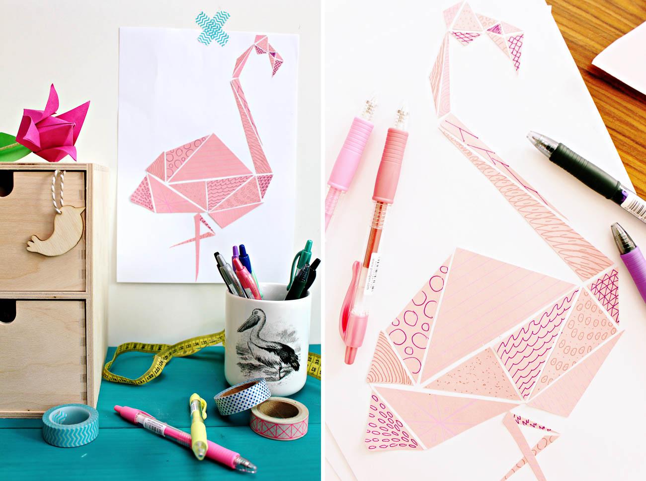 Geometrischer Flamingo mit Mustern {DIY-Anleitung}