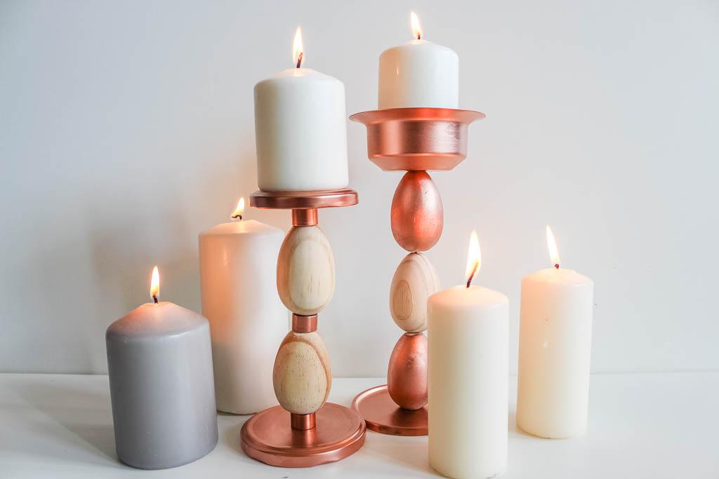 Kerzenständer aus Holzeiern basteln: Dekoration für Ostern