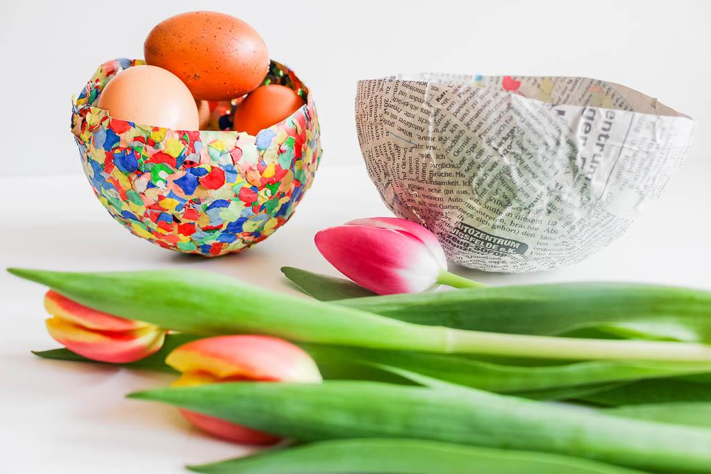 Pappmaché Konfetti Osterschüssel: Dekoration für Ostern