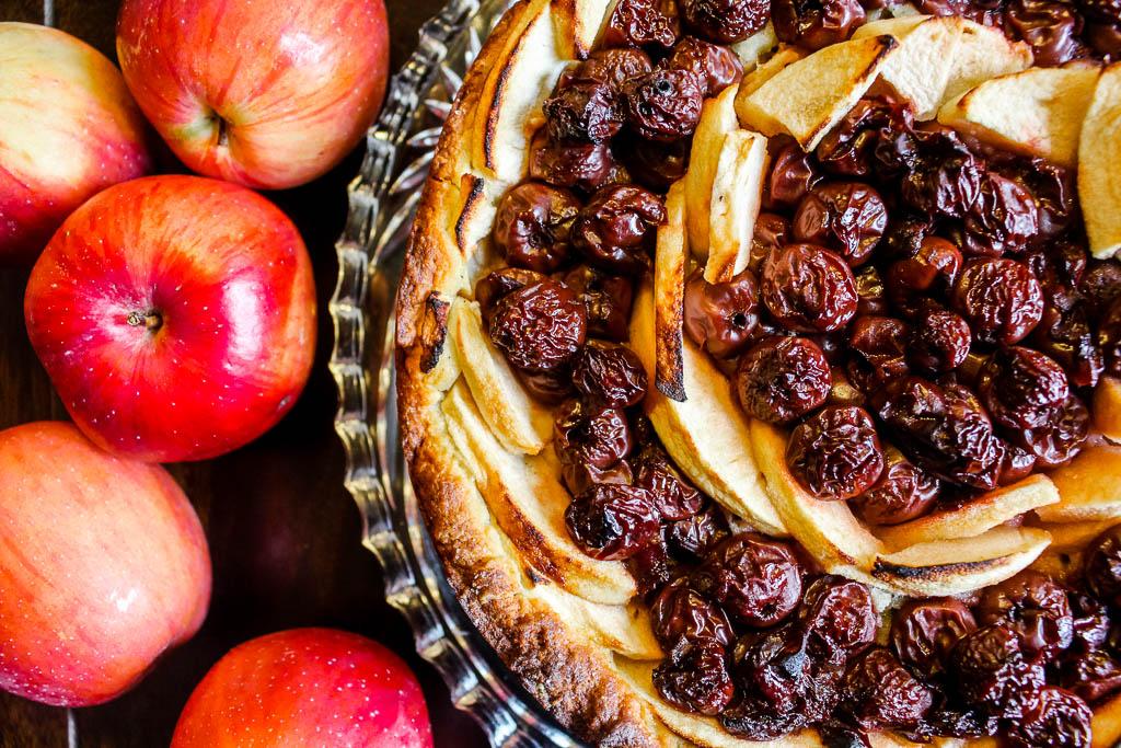 Rezept für Kirsch-Apfelkuchen mit Quark-Öl Teig