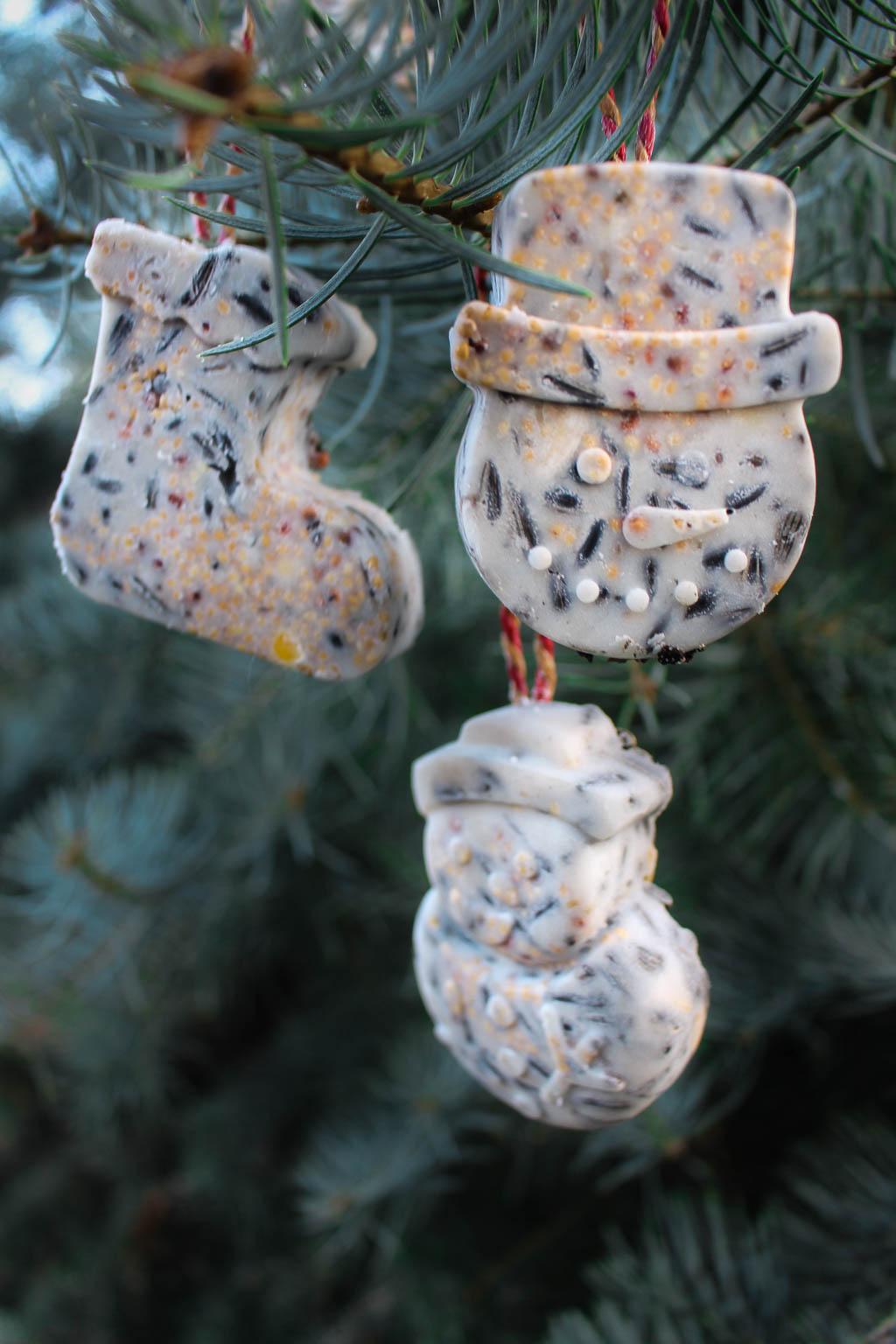 Diy-Anleitung Vogelfutter-Anhänger mit winterlichen Motiven selber machen