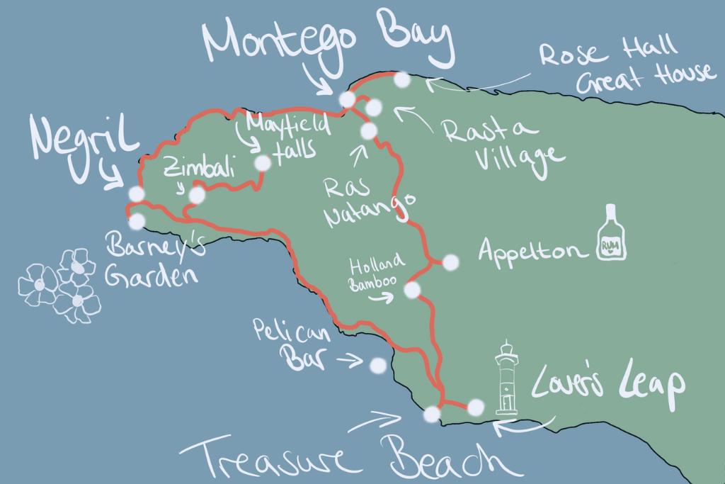 Karte mit Route für einen Roadtrip durch den Westen von Jamaika
